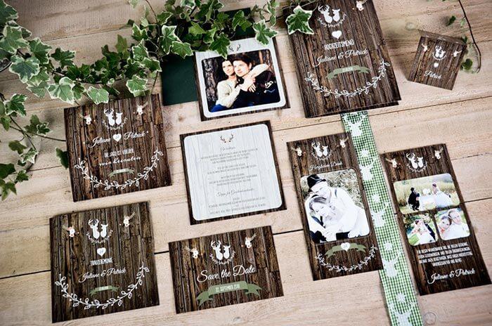 Hochzeitseinladung Holzoptik