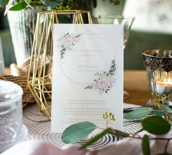 Hochzeitseinladungen Acrylglas