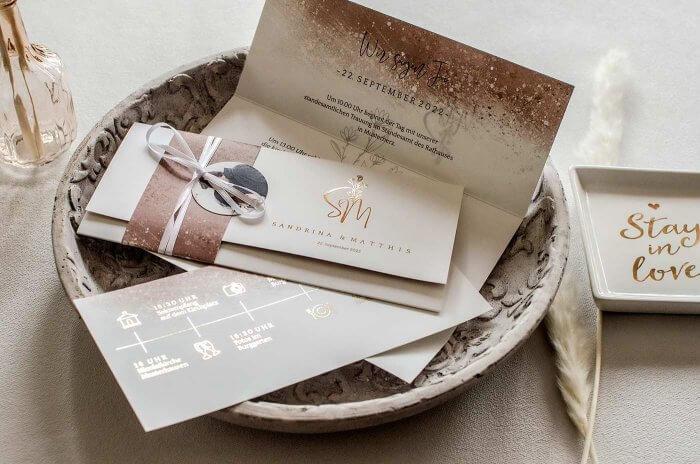 Hochzeitseinladungen Rosegold