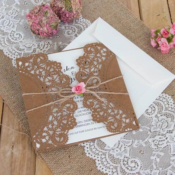 Hochzeitseinladungen vintage Spitze