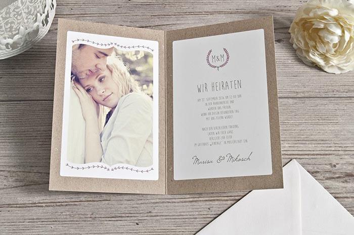 Vintage Einladungskarten Hochzeit