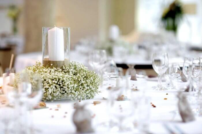 Hochzeit Blumengesteck Kerze