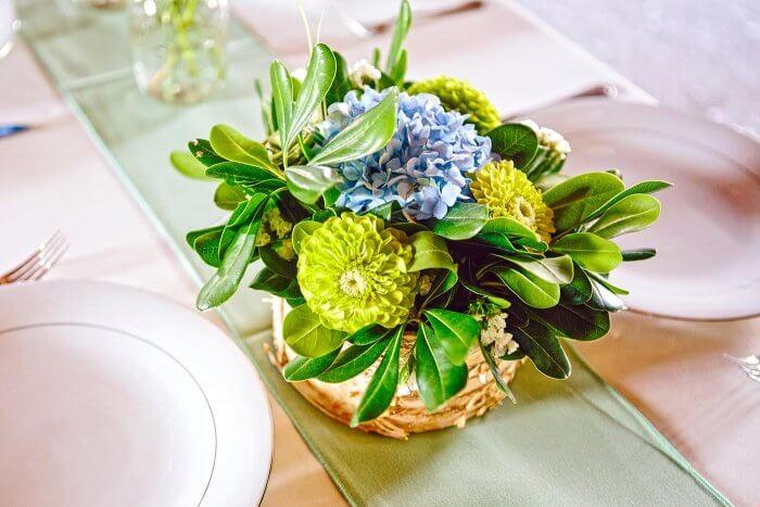 Tischdeko in Blau & Grün