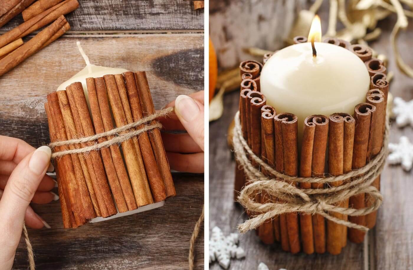 Tischdeko Winterhochzeit Diy Anleitung Kerze Mit Zimtstangen