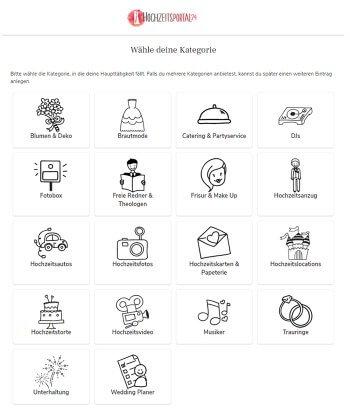 Hochzeitsbranchenbuch Kategorien