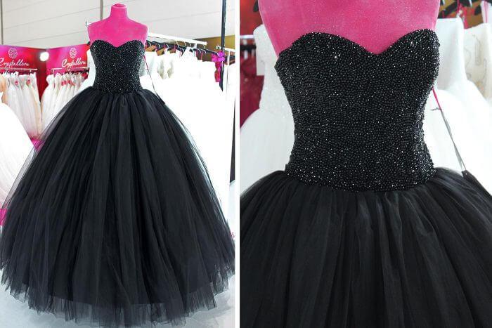 Schwarzes Brautkleid Crystalline