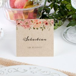 Tischkarte zur Hochzeit im Vintage-Stil