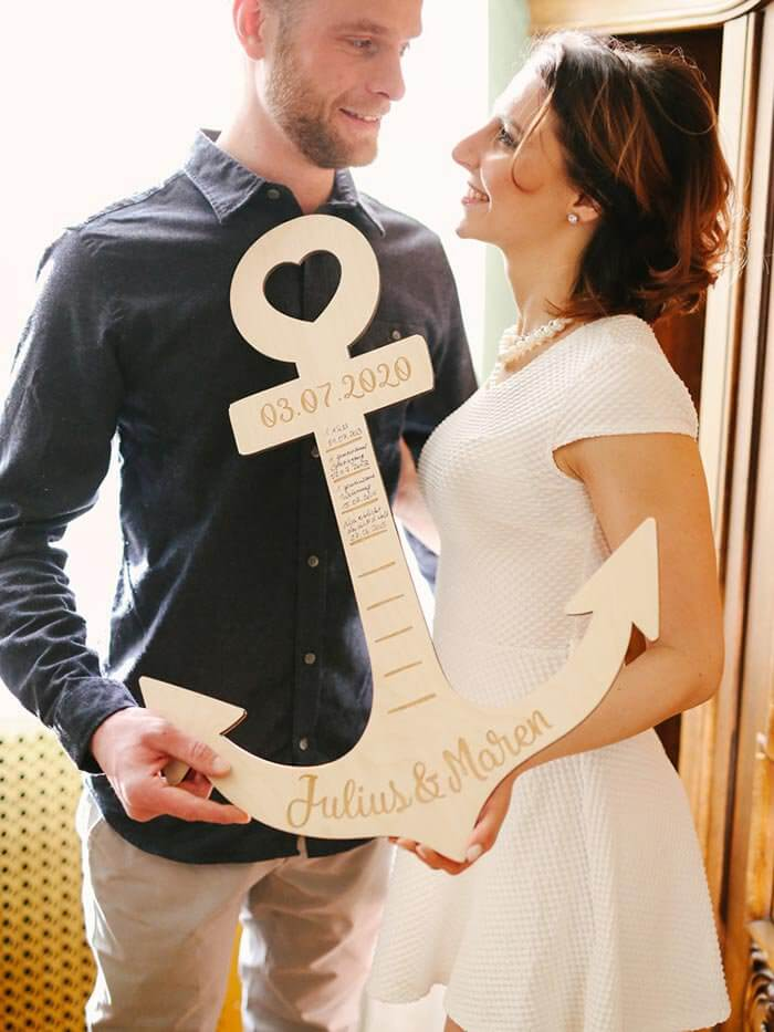 Holzschriftzug Hochzeit Anker