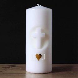 Hochzeitskerze mit Kreuz