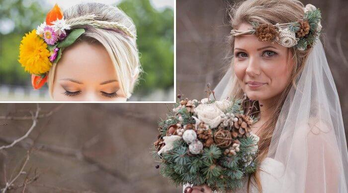 Brautschmuck haare echte blumen  Blumenkranz der Braut | Ideen, Tipps & Bilder