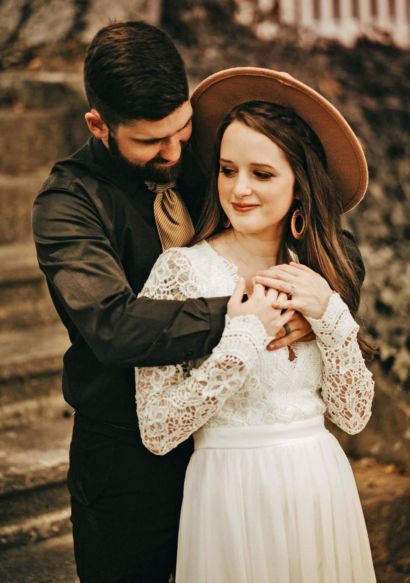 Boho Brautkleid mit Ärmeln