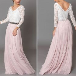 Brautjungfernkleider rosa lang