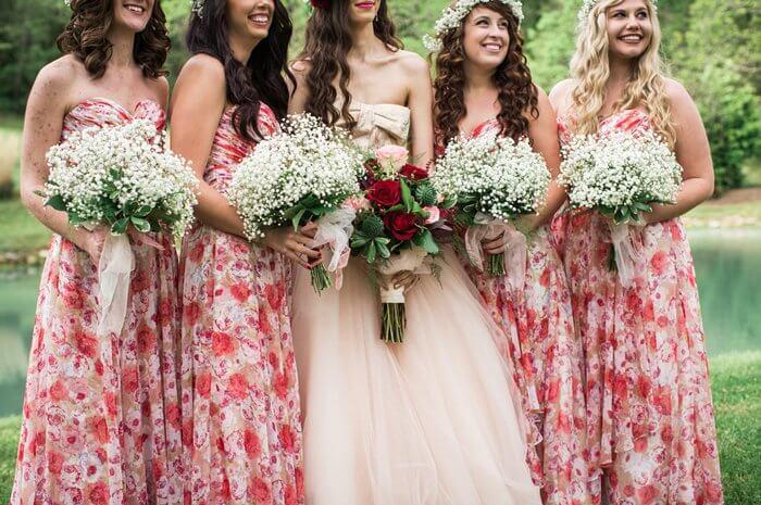Brautjungfernkleider Rot Rosa