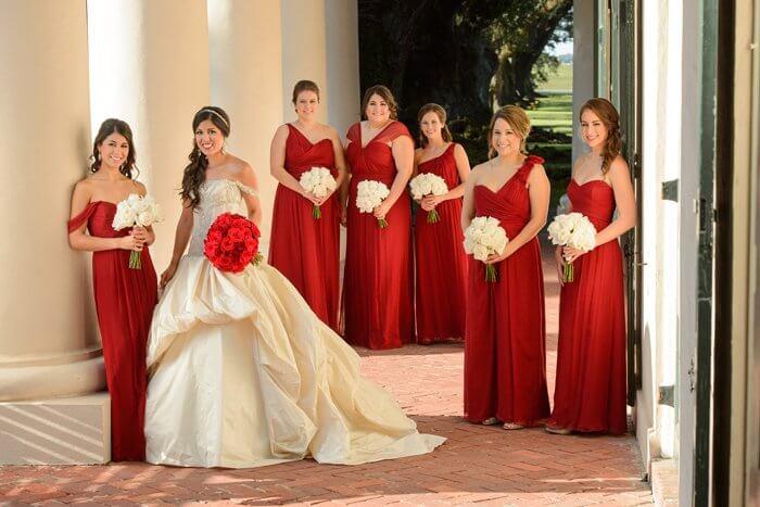 Rote Brautjungfernkleider