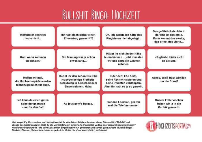 Bullshit Bingo Hochzeit