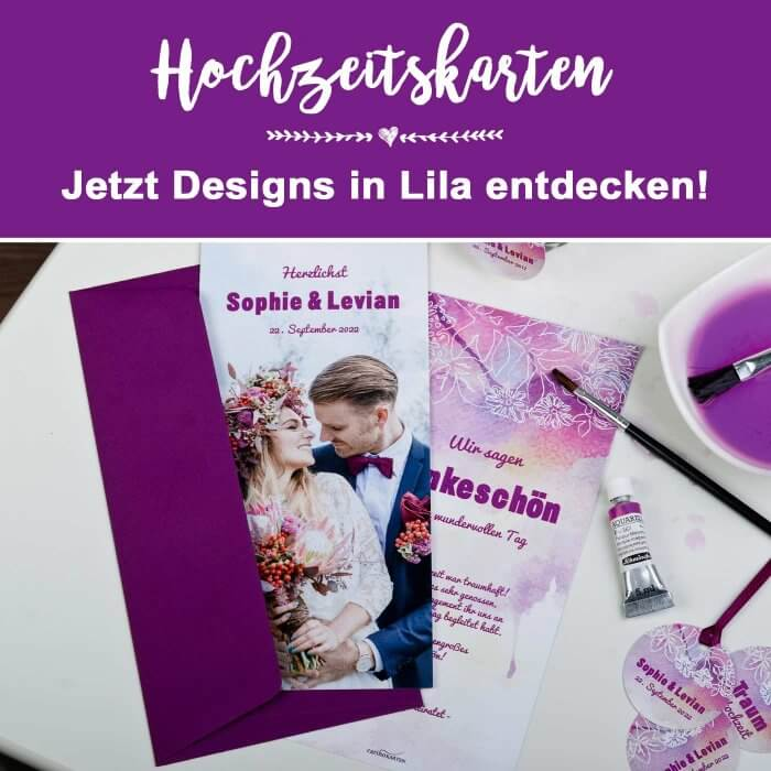 Hochzeitskarten in Lila