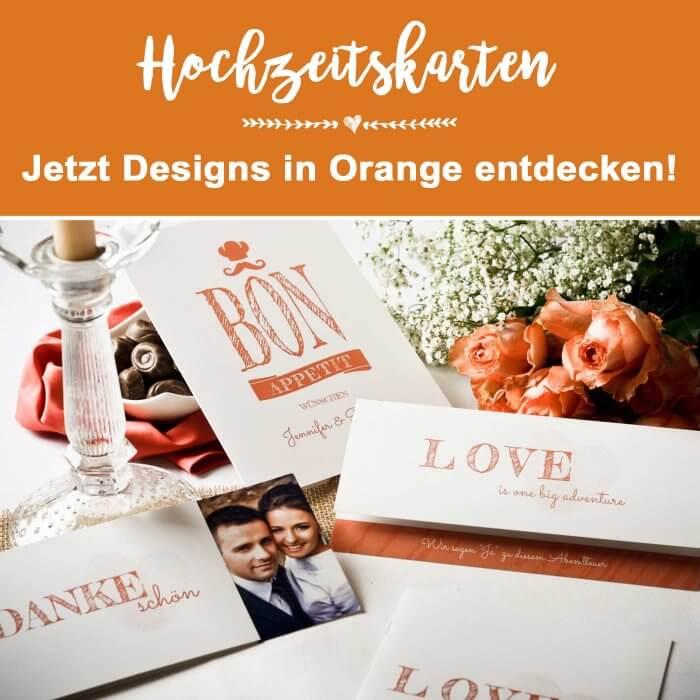 Hochzeitskarten in Orange