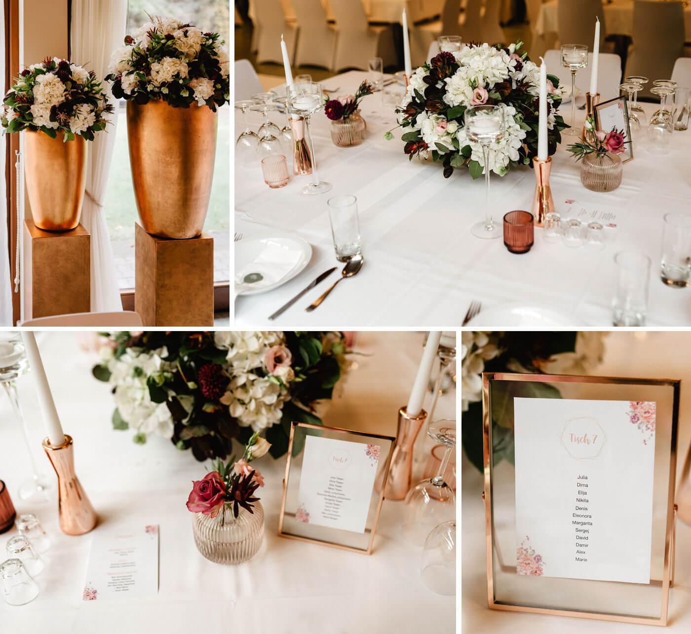 Hochzeitssaal Tischdeko