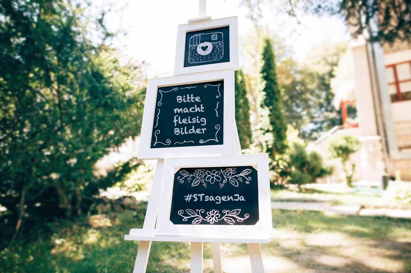 Schild zur Hochzeit