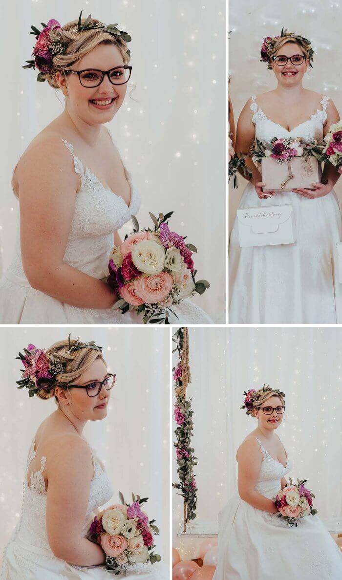 Brautfrisur mit Brille
