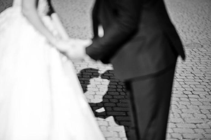 Kreative Hochzeitsbilder mit Schatten