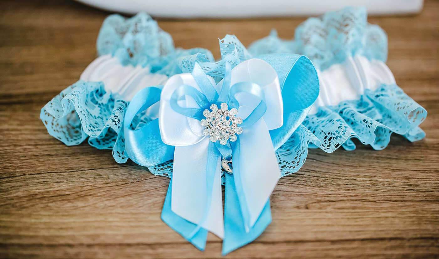 Blaues Strumpfband Hochzeit