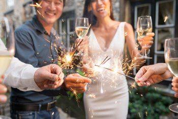 Wunderkerzen Hochzeit Sektempfang