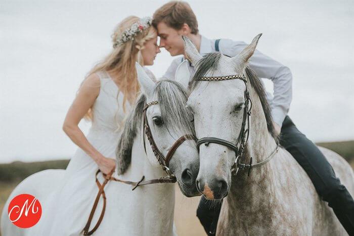 Hochzeitsbild mit Pferd