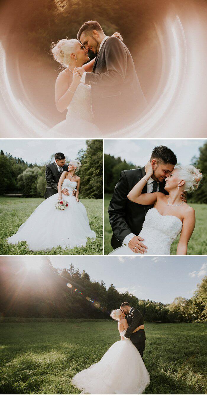 After Wedding Shooting auf der Wiese