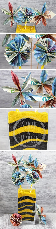 Geldblumen: Tolle Blumen aus Geld für die Hochzeit falten