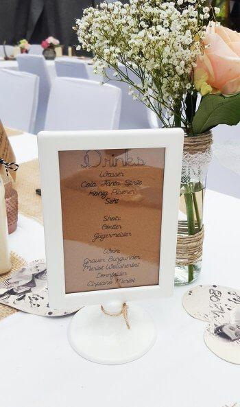 Getraenkekarte fuer Hochzeit