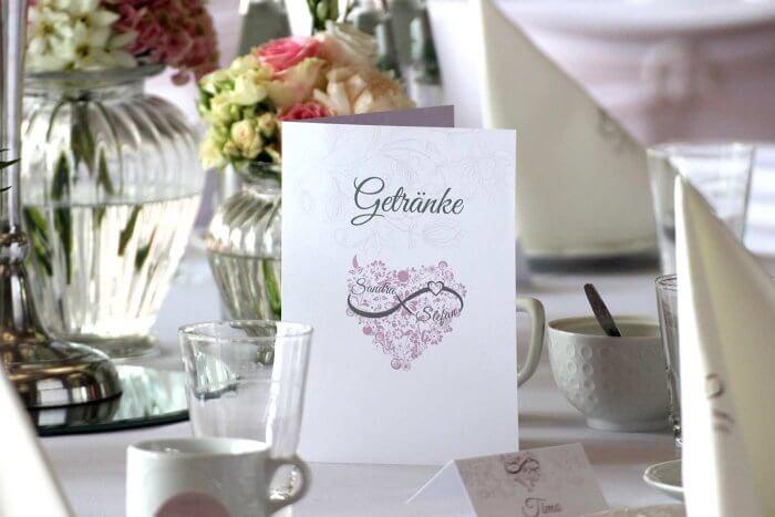 Hochzeit Getraenkekarte