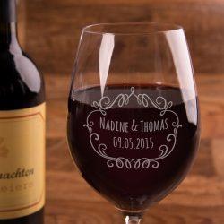 Weinglas zur Hochzeit