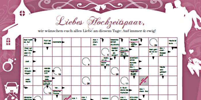 Hochzeitgeschenk Kreuzworträtsel Geschenkrätsel