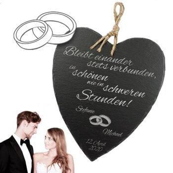 Schieferherz mit Hochzeitsspruch