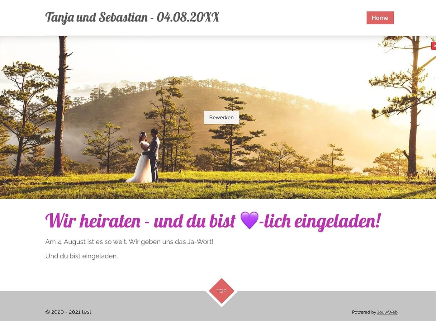 Webador Hochzeitshomepage