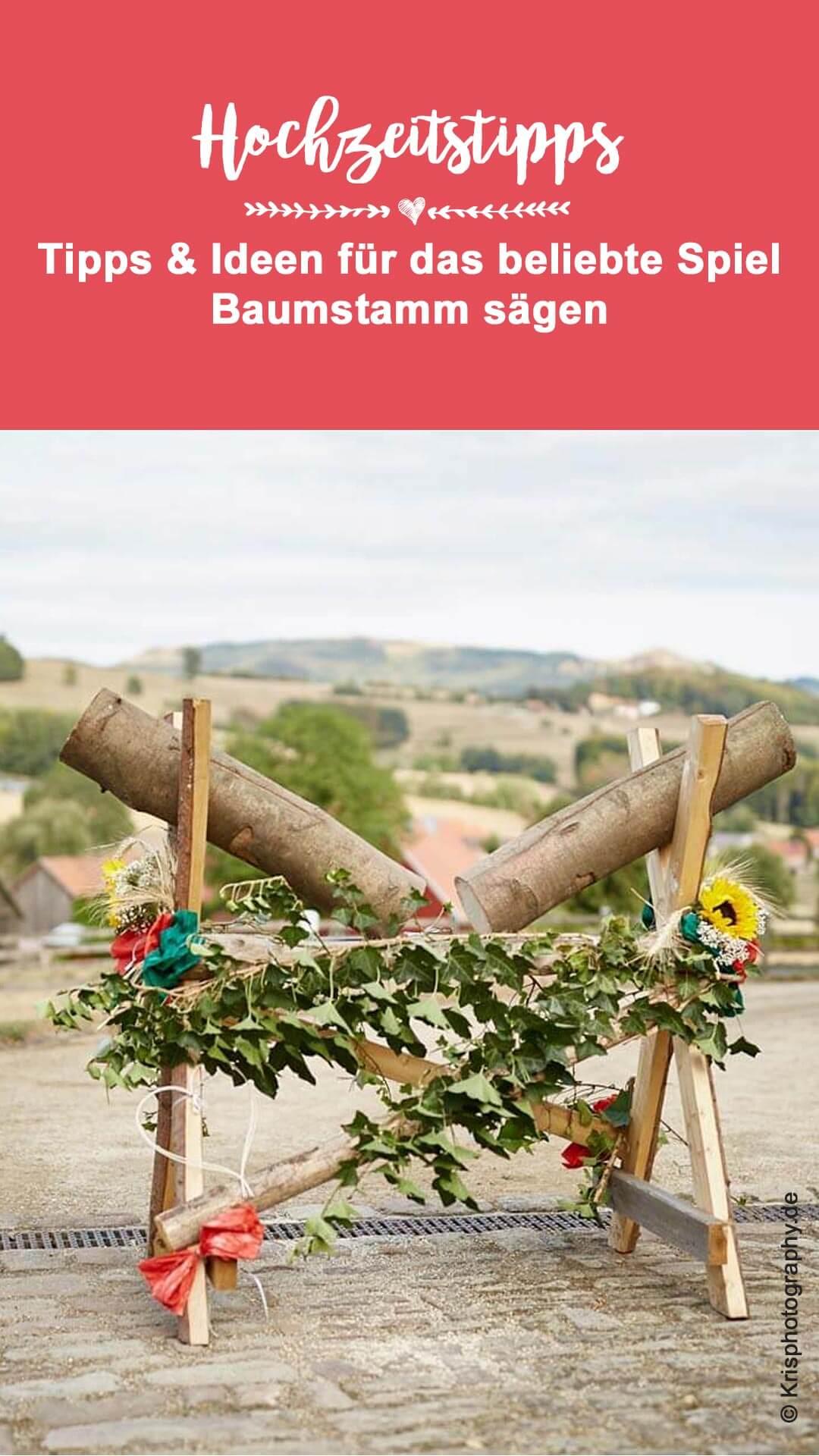 Baumstammsägen Hochzeit