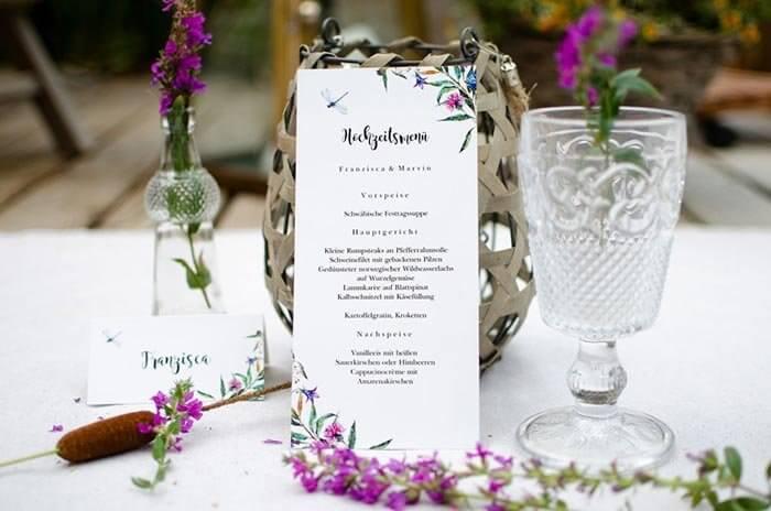 Menukarte 726603d 11x17 Cm Menukarten Hochzeit Speisekarten Menu