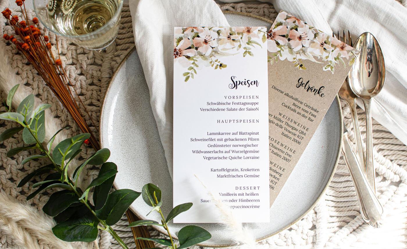 Speisekarte Hochzeit