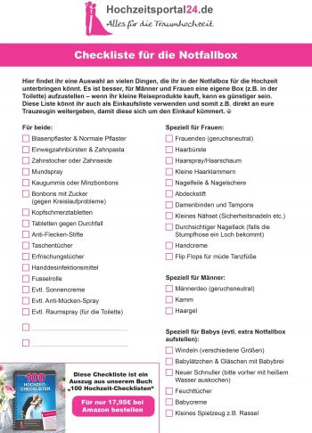 Checkliste trauzeugin