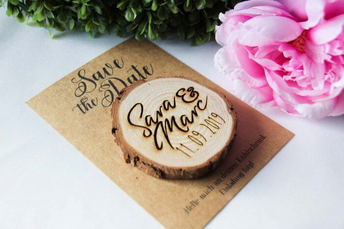 Save the Date Magnet Holz