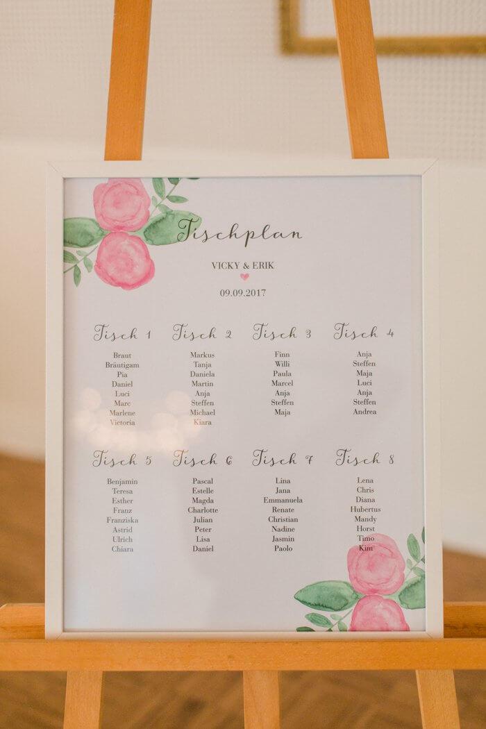 Sitzplan Hochzeit Staffelei