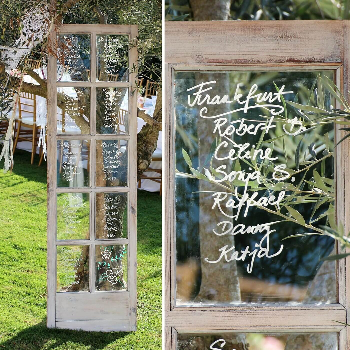 Tischplan Hochzeit Fenster Vintage