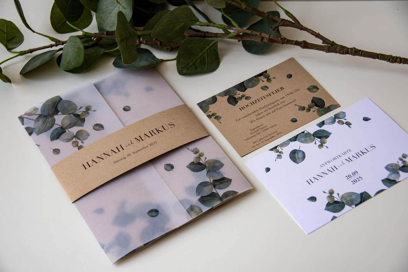 Greenery Einladungskarten
