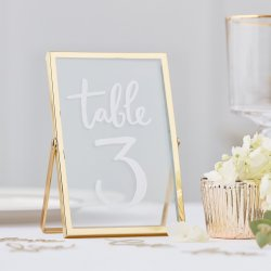 Tischnummern Hochzeit gold