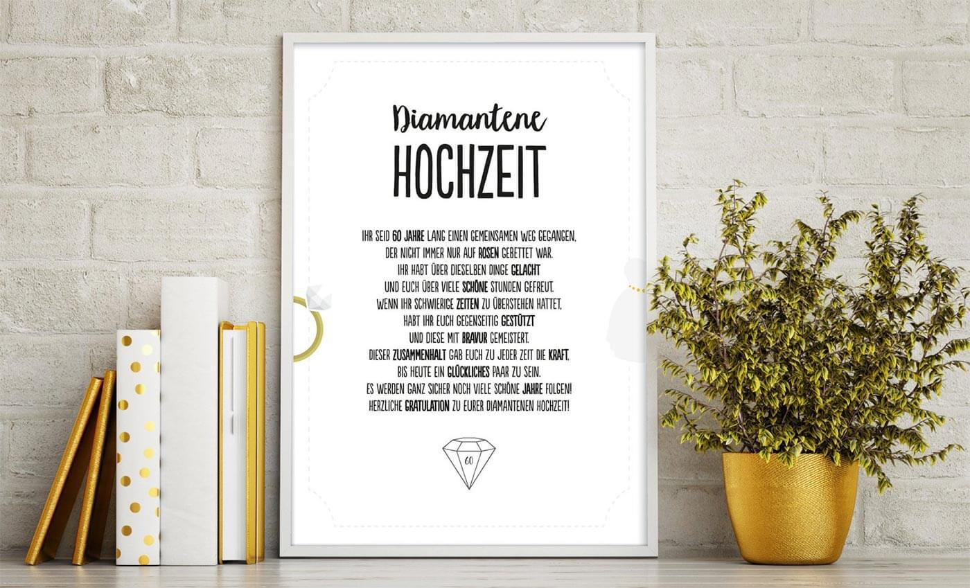 Glückwünsche zur Diamantenen Hochzeit